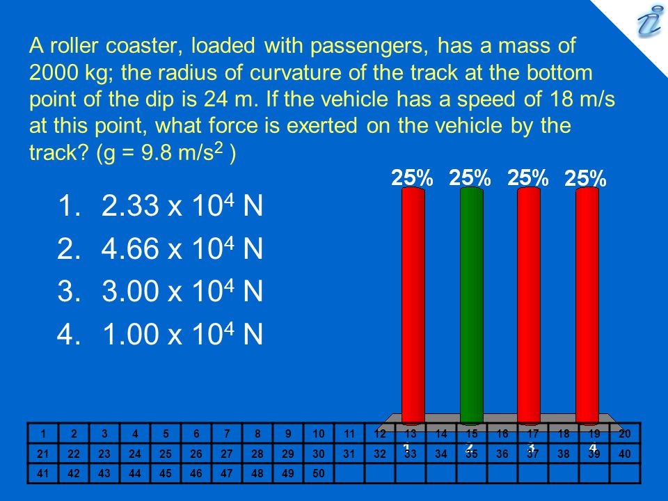 A roller coaster, loaded with passengers, has a mass of 2000 kg; the radius of curvature of the track at the bottom point of the dip is 24 m. If the vehicle has a speed of 18 m/s at this point, what force is exerted on the vehicle by the track (g = 9.8 m/s2 )