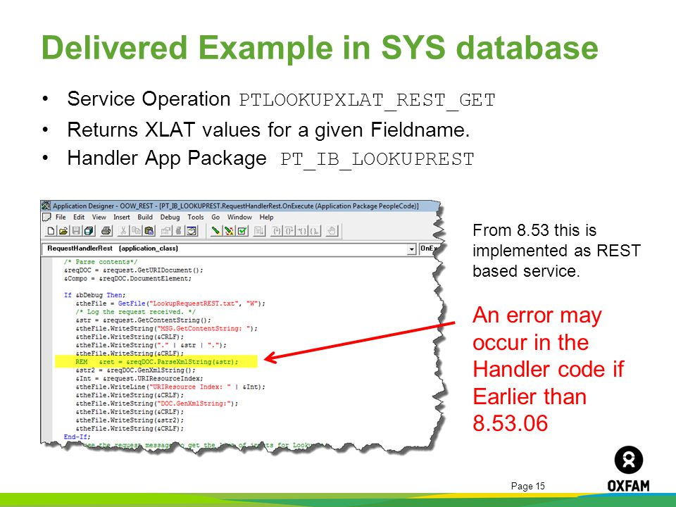 Delivered Example in SYS database