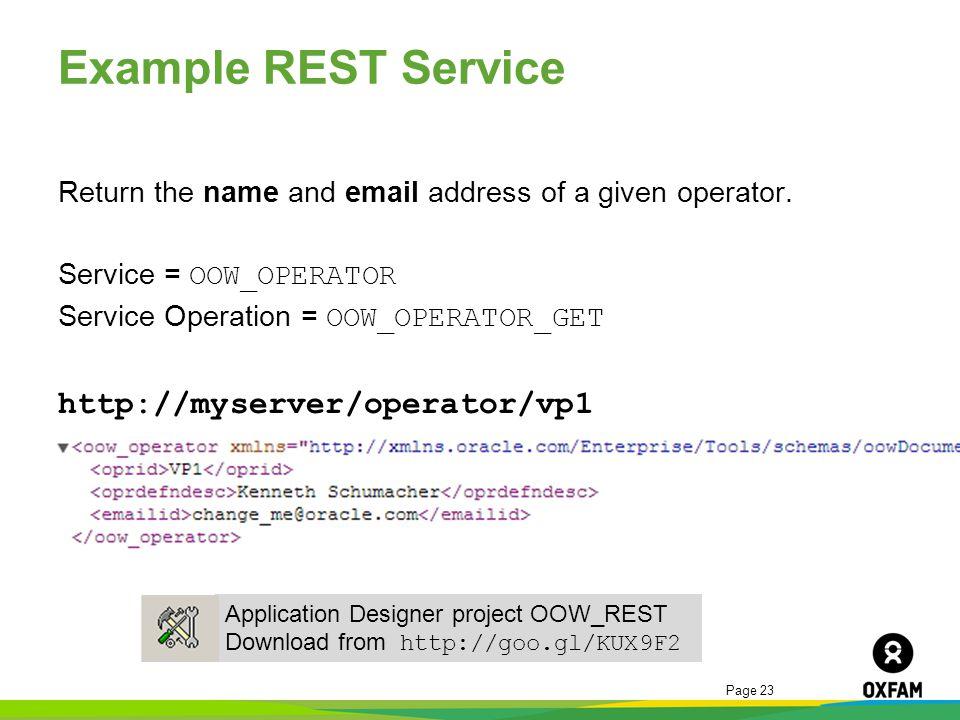 Example REST Service http://myserver/operator/vp1