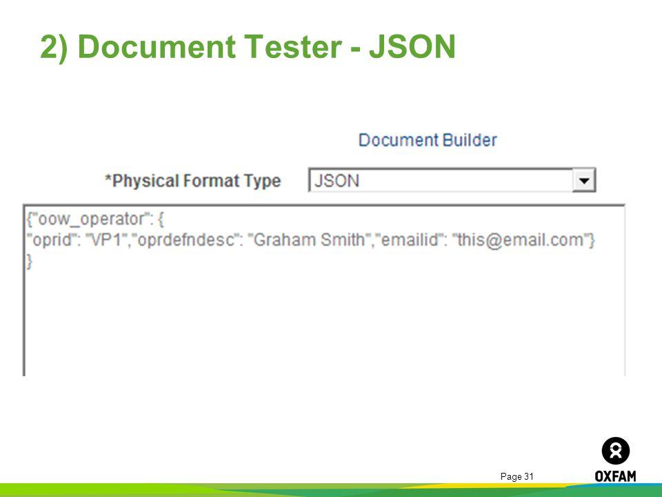 2) Document Tester - JSON