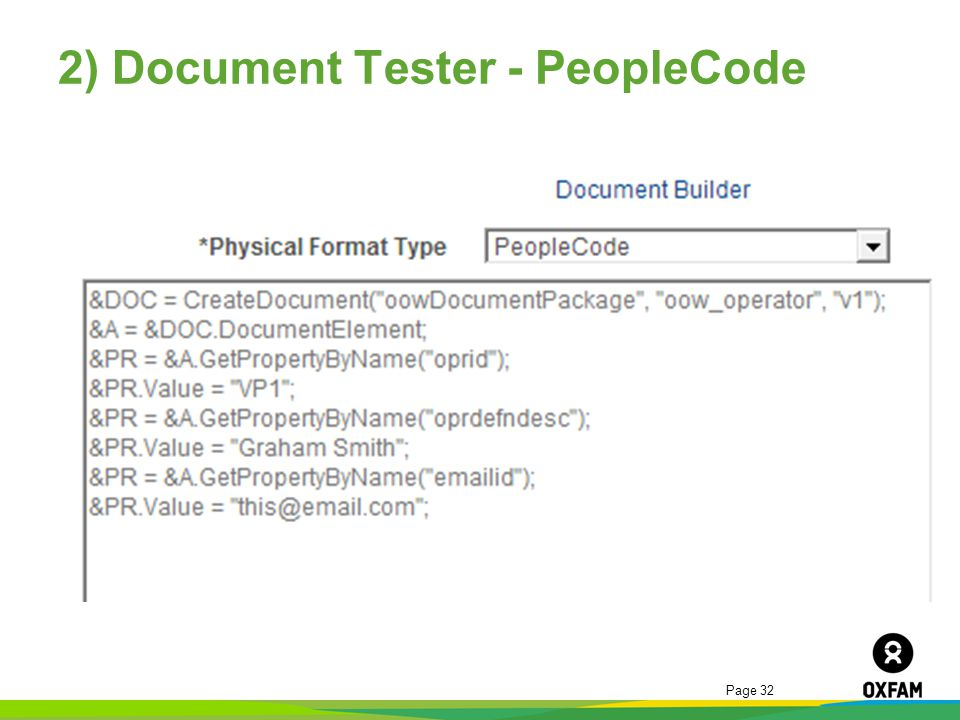 2) Document Tester - PeopleCode