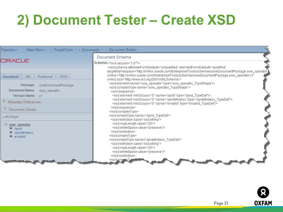2) Document Tester – Create XSD