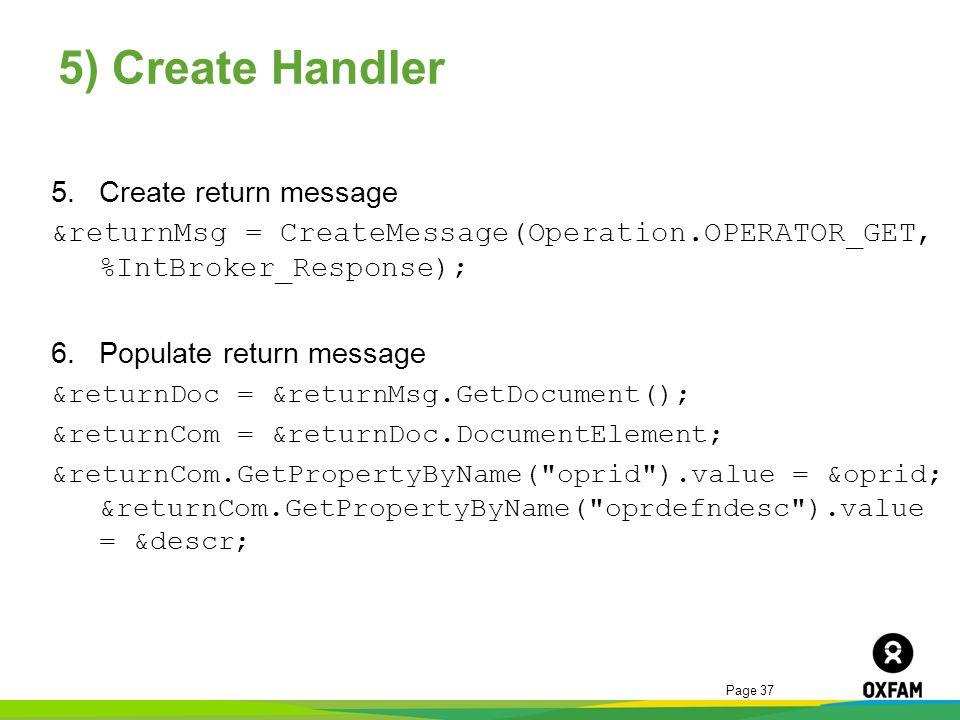 5) Create Handler Create return message