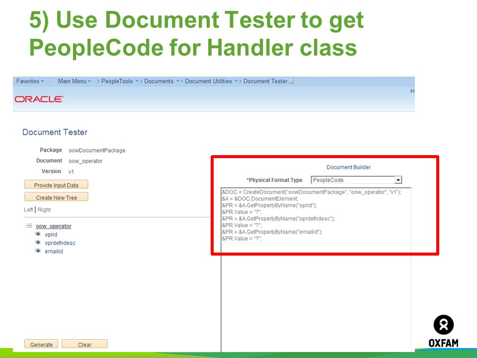 5) Use Document Tester to get PeopleCode for Handler class