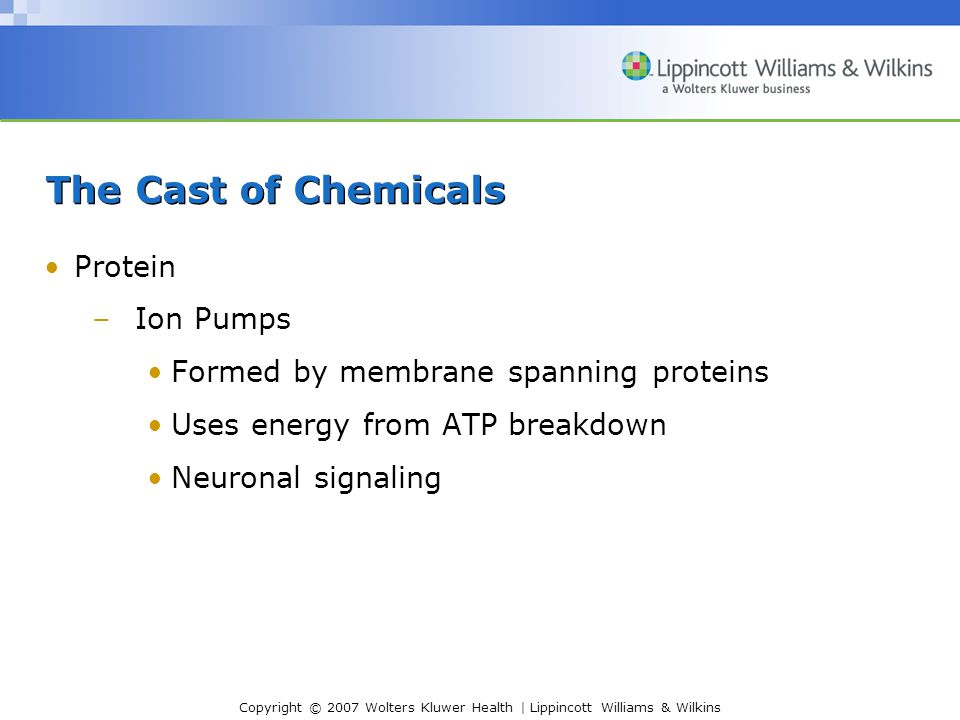 The Cast of Chemicals Protein Ion Pumps