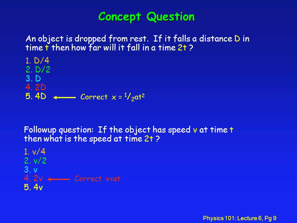 Concept Question An object is dropped from rest. If it falls a distance D in time t then how far will it fall in a time 2t