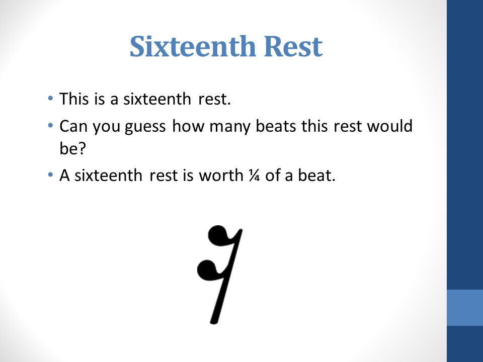 Sixteenth Rest This is a sixteenth rest.