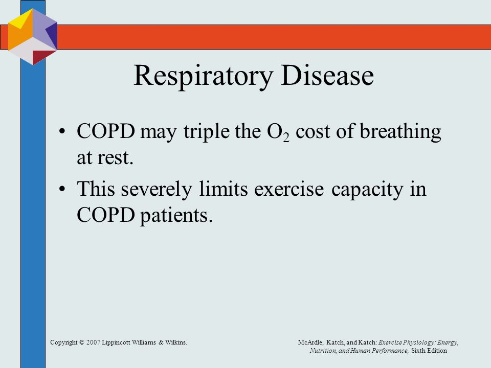Respiratory Disease COPD may triple the O2 cost of breathing at rest.