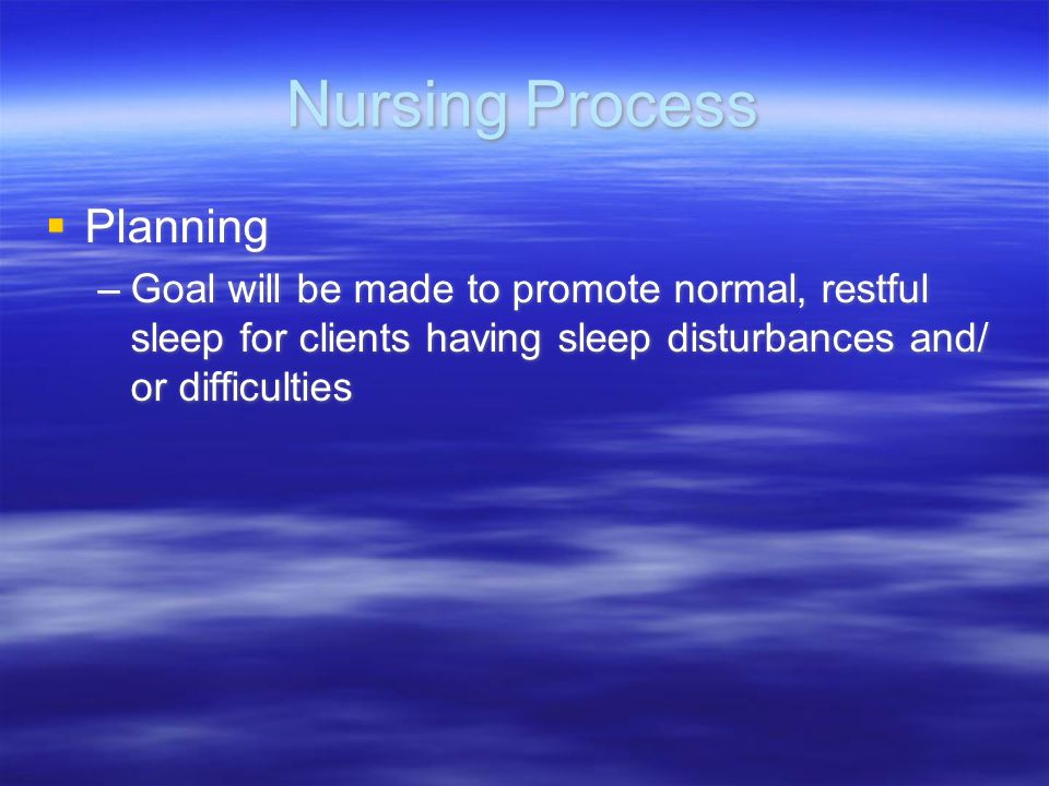 Nursing Process Planning