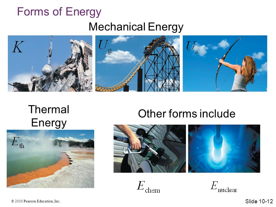 Forms of Energy Mechanical Energy Thermal Energy Other forms include