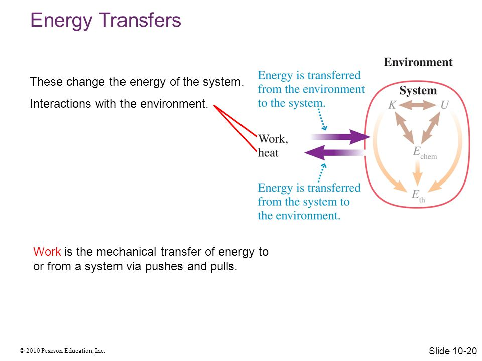 Energy Transfers These change the energy of the system.