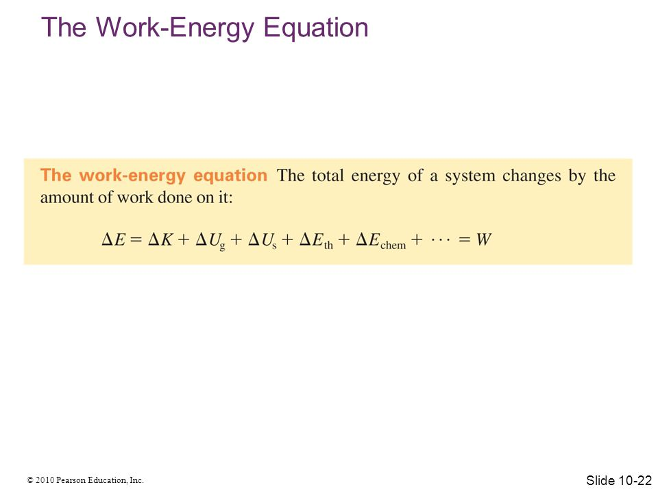 The Work-Energy Equation