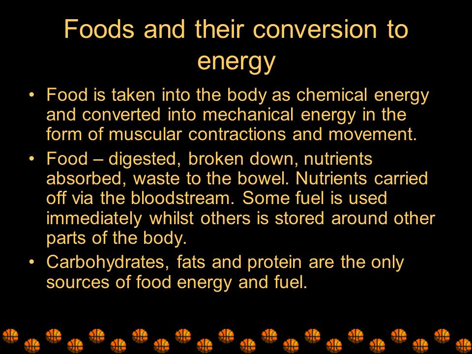Foods and their conversion to energy