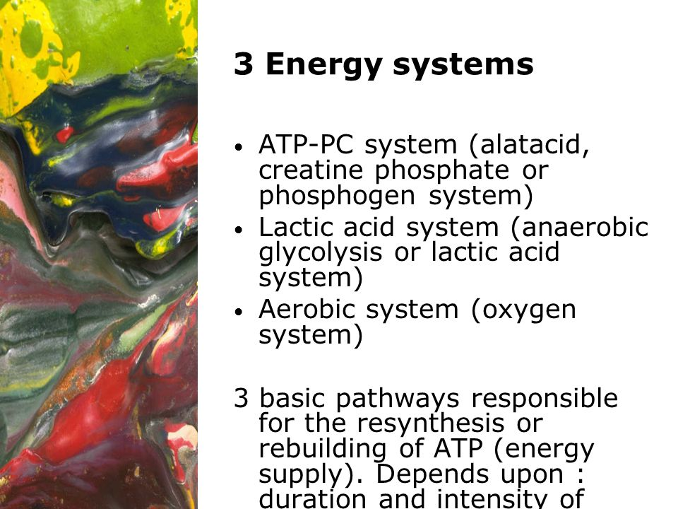 3 Energy systems ATP-PC system (alatacid, creatine phosphate or phosphogen system) Lactic acid system (anaerobic glycolysis or lactic acid system)