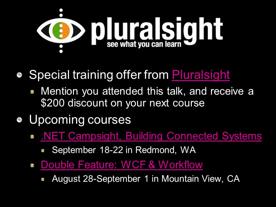 Special training offer from Pluralsight