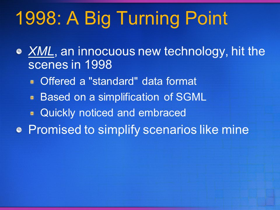 3/31/2017 6:03 PM 1998: A Big Turning Point. XML, an innocuous new technology, hit the scenes in 1998.