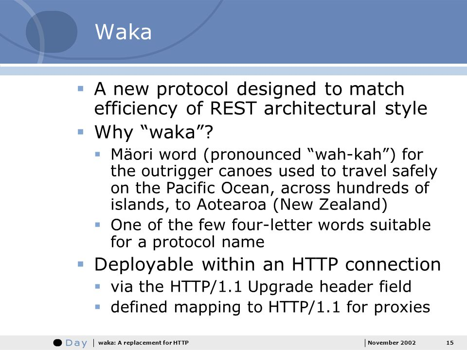 Waka A new protocol designed to match efficiency of REST architectural style. Why waka