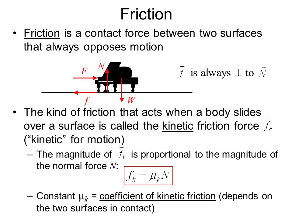 Friction Friction is a contact force between two surfaces that always opposes motion.