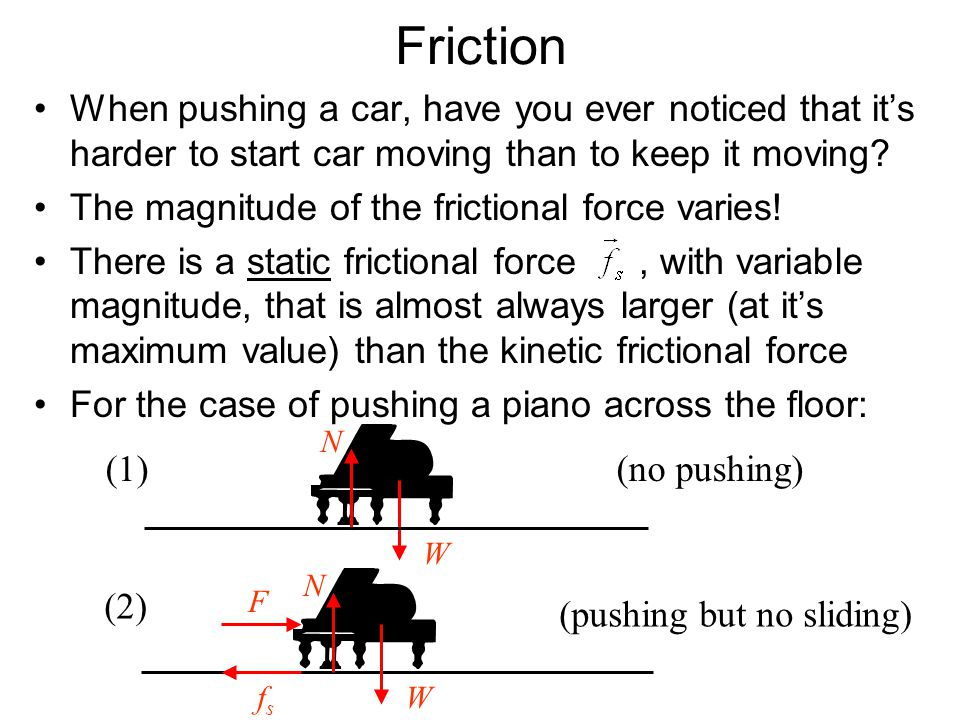 Friction When pushing a car, have you ever noticed that it's harder to start car moving than to keep it moving