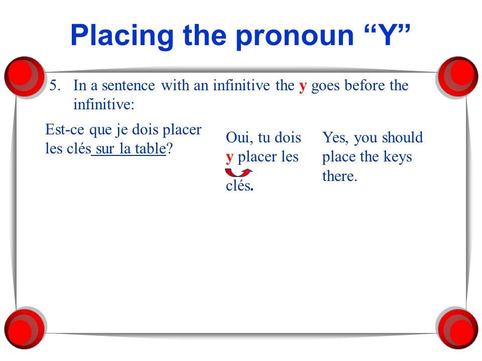 Placing the pronoun Y