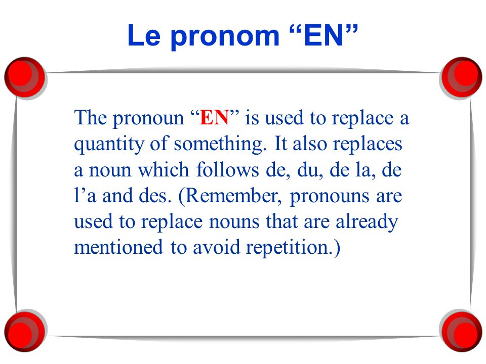 Le pronom EN
