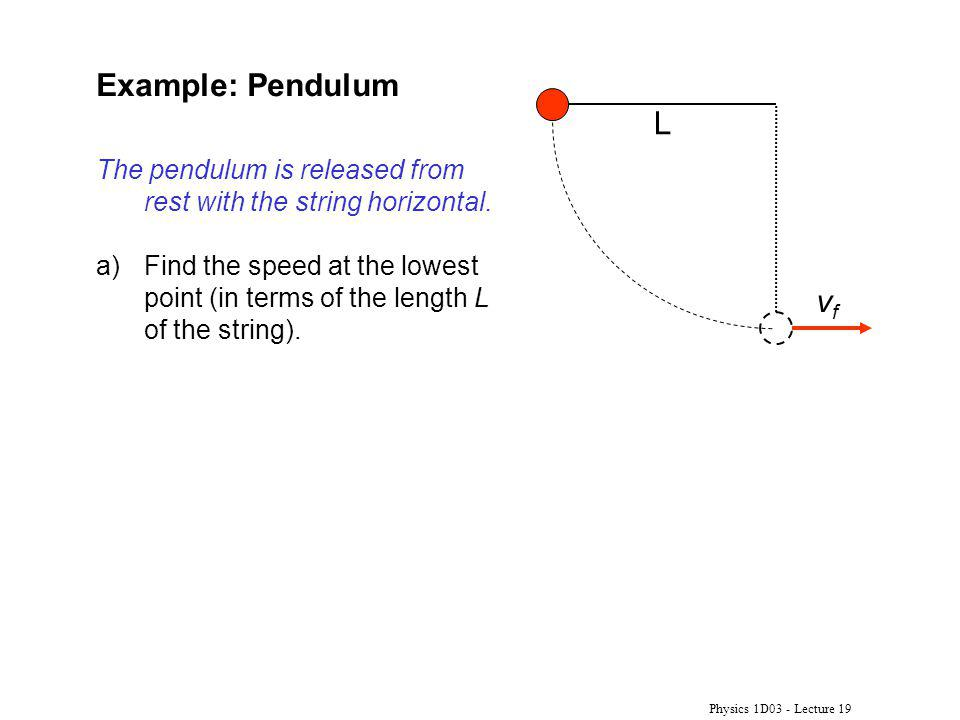 Example: Pendulum L. The pendulum is released from rest with the string horizontal.