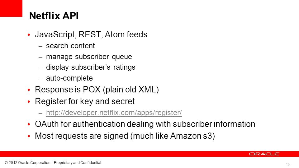 Netflix API JavaScript, REST, Atom feeds