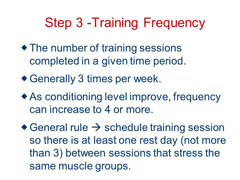 Step 3 -Training Frequency