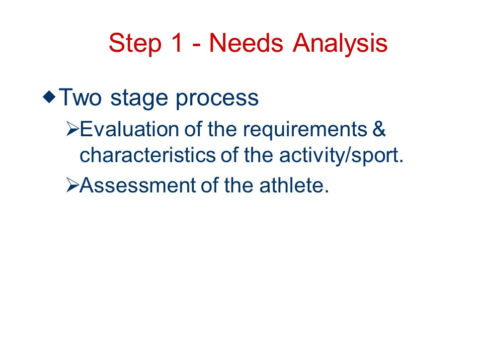 Step 1 - Needs Analysis Two stage process