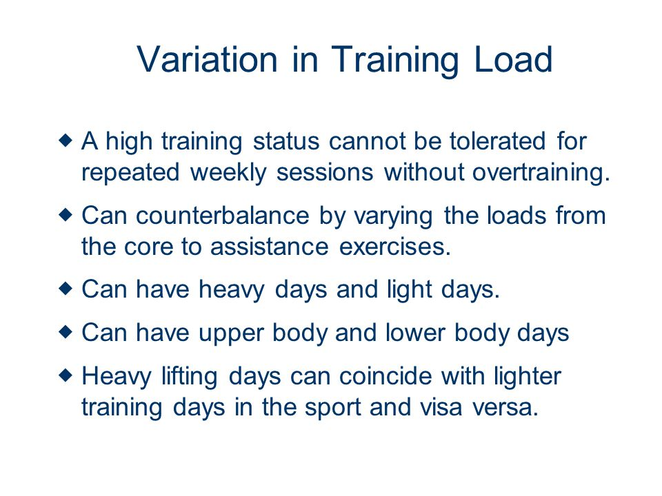 Variation in Training Load