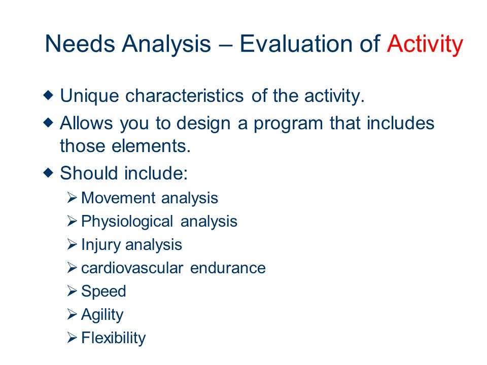 Needs Analysis – Evaluation of Activity