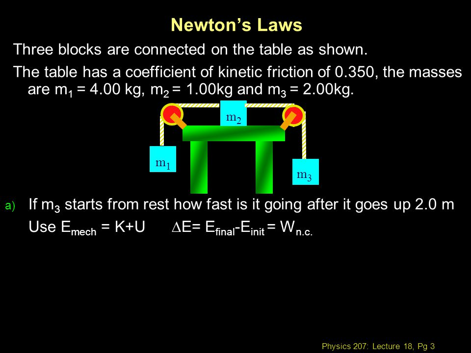 Newton's Laws Three blocks are connected on the table as shown.
