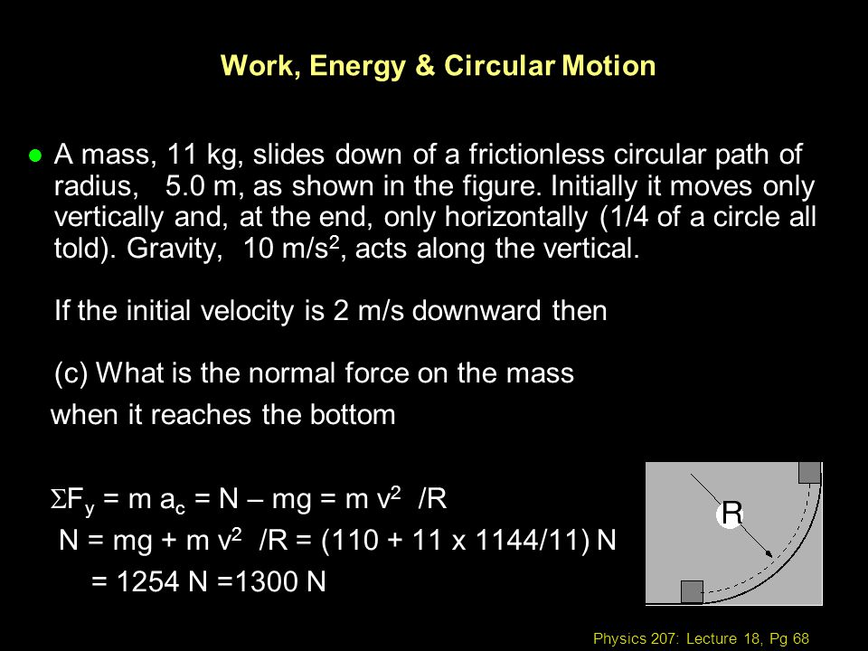 Work, Energy & Circular Motion