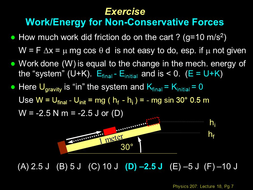 Exercise Work/Energy for Non-Conservative Forces