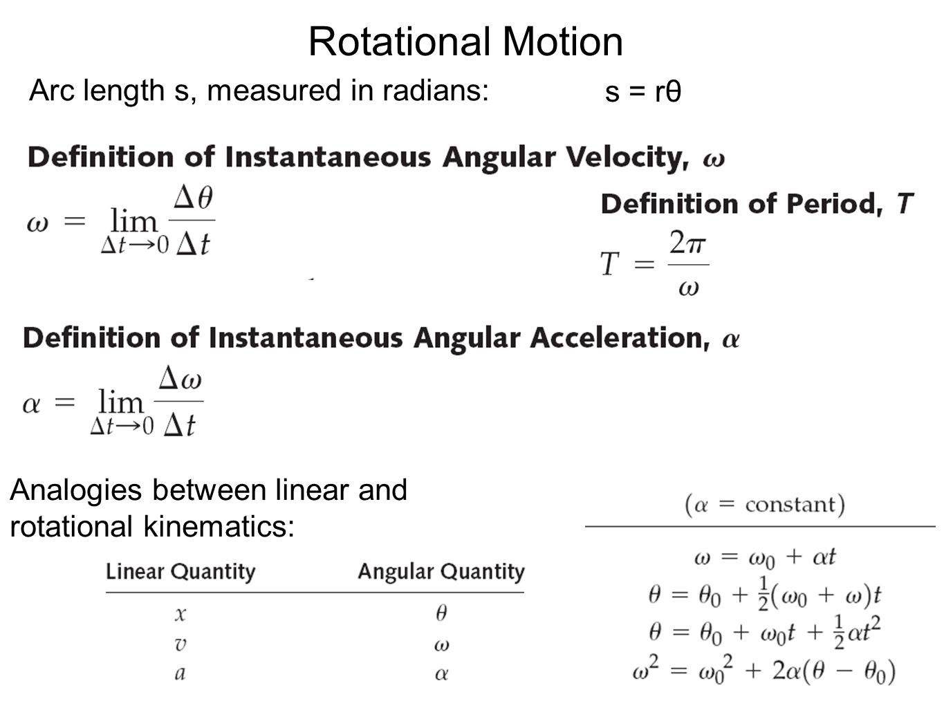 Rotational Motion Arc length s, measured in radians: s = rθ