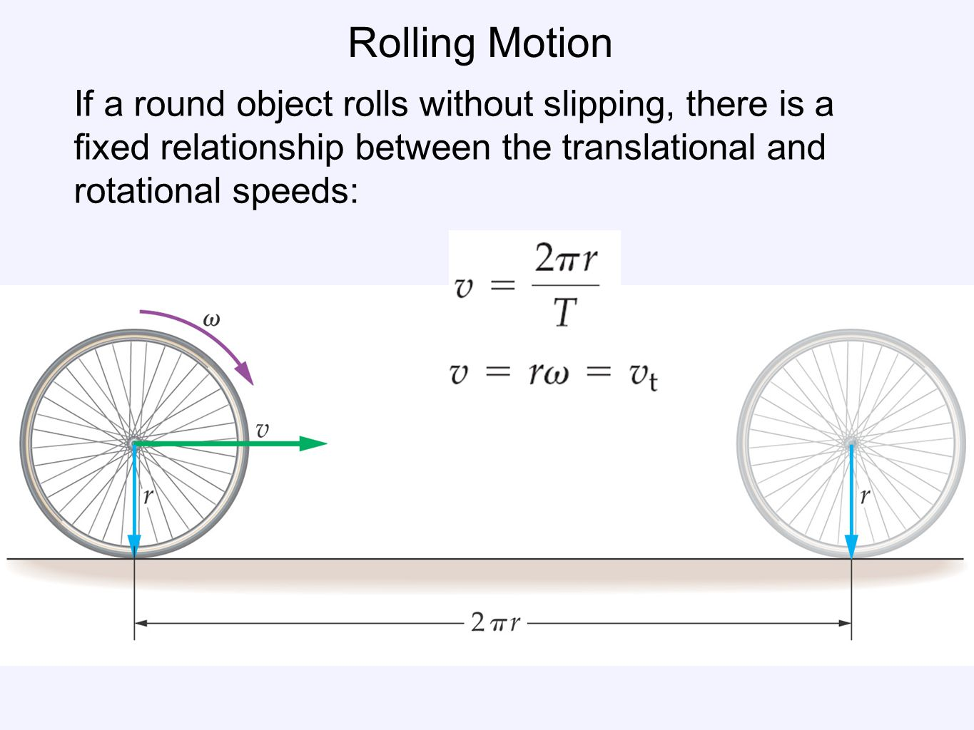 Rolling Motion If a round object rolls without slipping, there is a fixed relationship between the translational and rotational speeds: