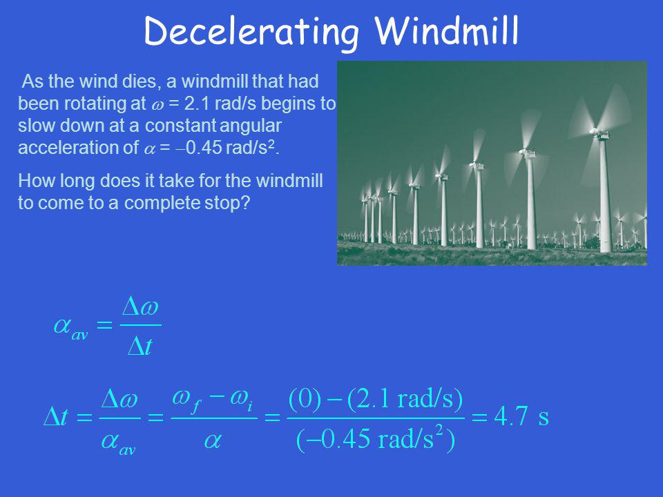 Decelerating Windmill