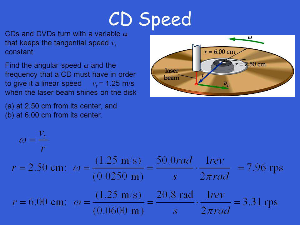 CD Speed CDs and DVDs turn with a variable w that keeps the tangential speed vt constant.