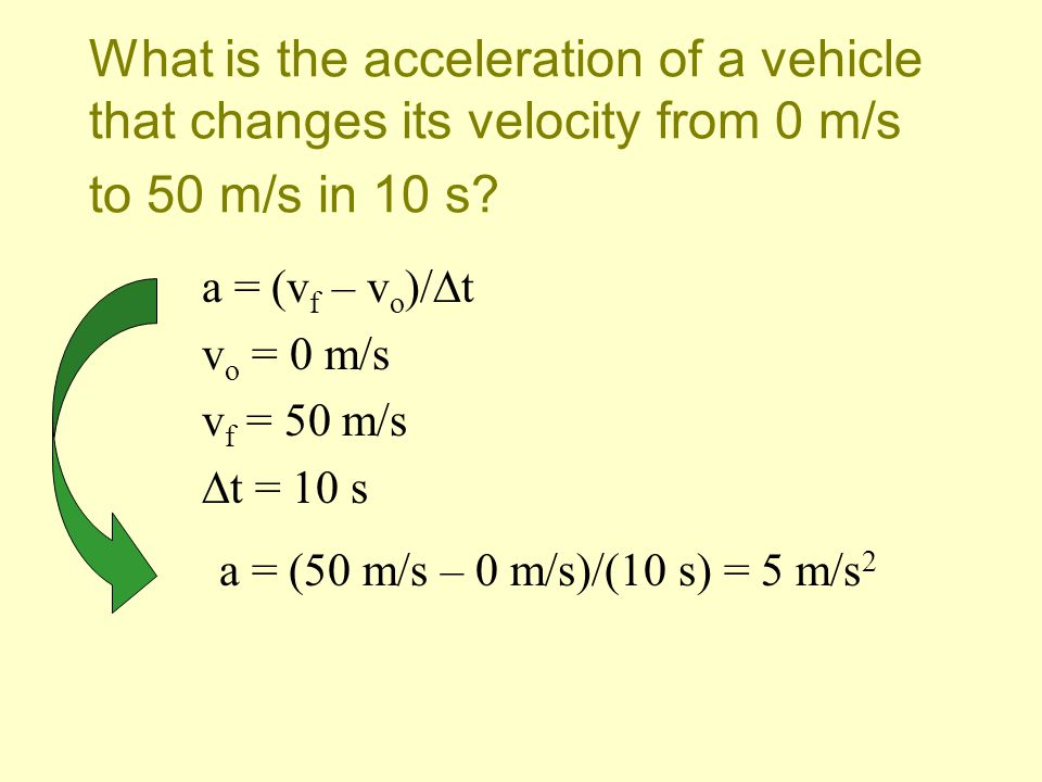 What is the acceleration of a vehicle that changes its velocity from 0 m/s to 50 m/s in 10 s
