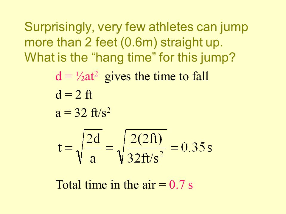 Surprisingly, very few athletes can jump more than 2 feet (0