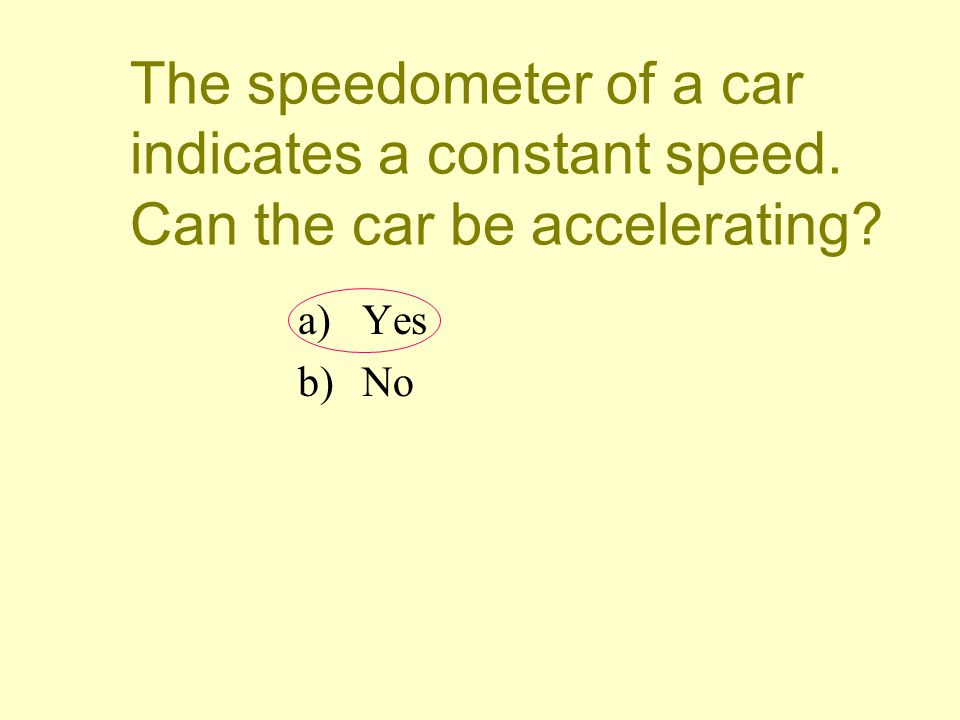 The speedometer of a car indicates a constant speed