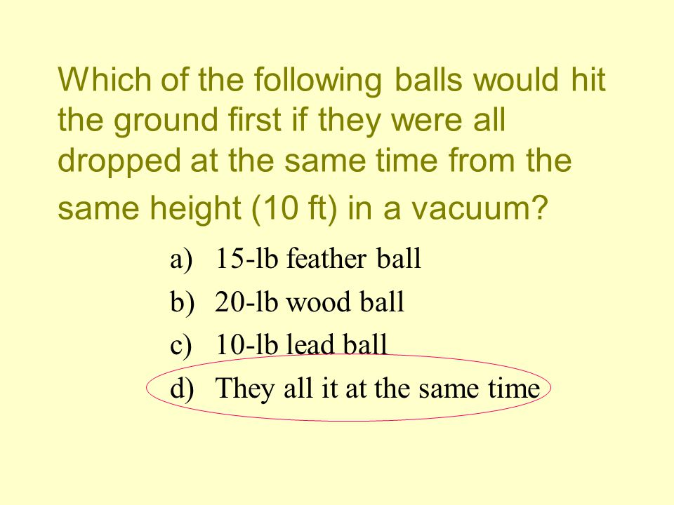 Which of the following balls would hit the ground first if they were all dropped at the same time from the same height (10 ft) in a vacuum