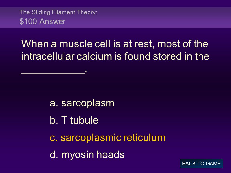 The Sliding Filament Theory: $100 Answer