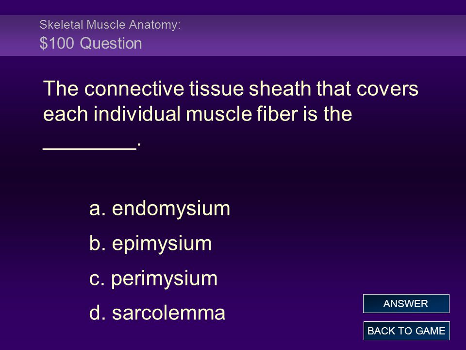 Skeletal Muscle Anatomy: $100 Question