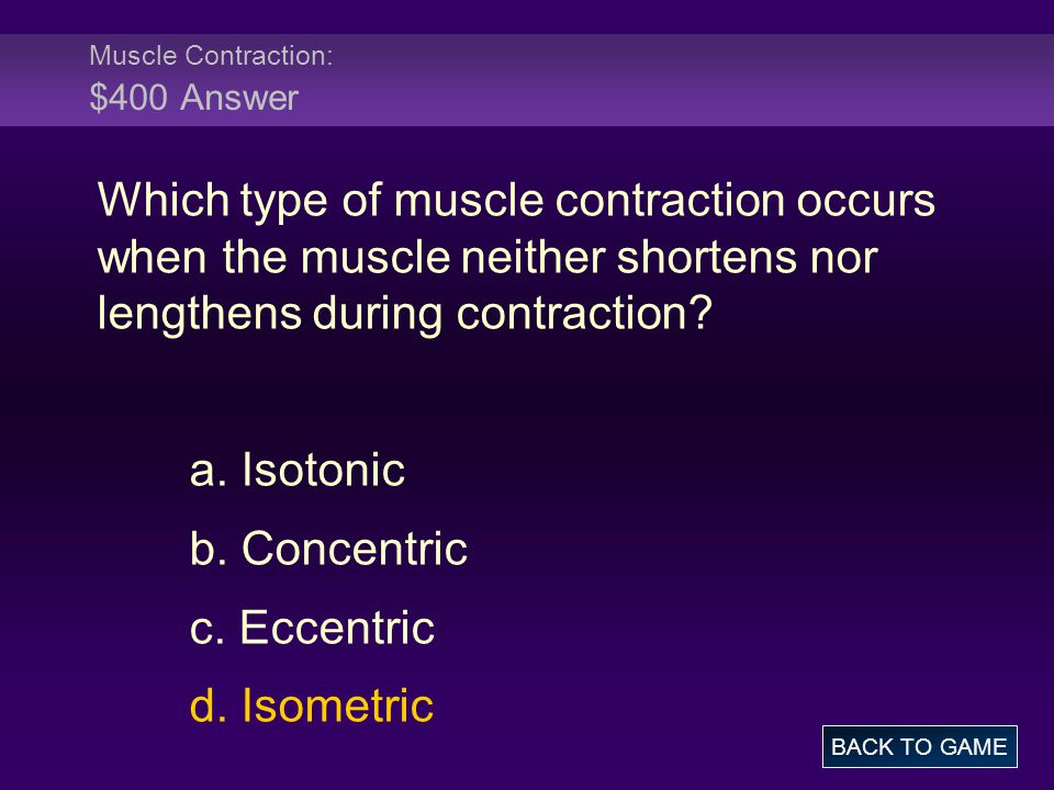 Muscle Contraction: $400 Answer