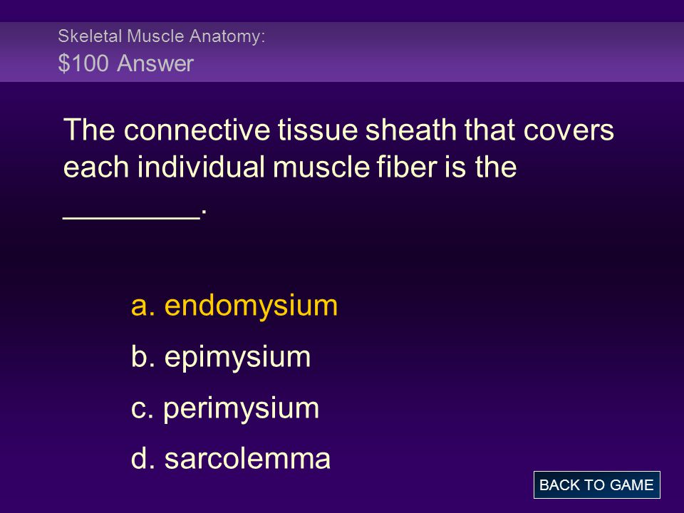 Skeletal Muscle Anatomy: $100 Answer