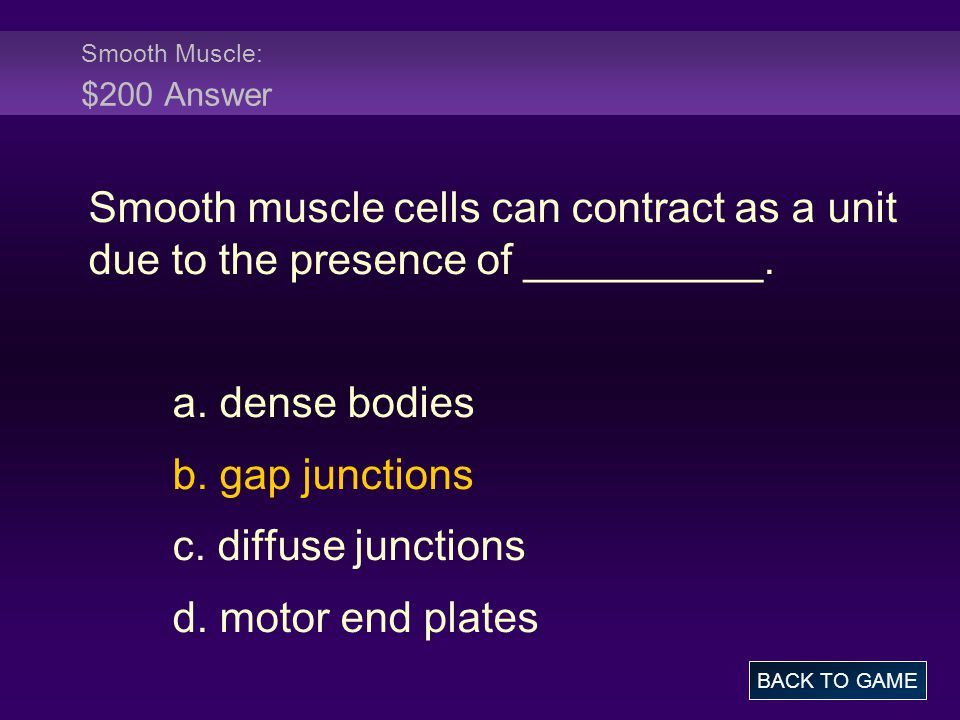 Smooth Muscle: $200 Answer