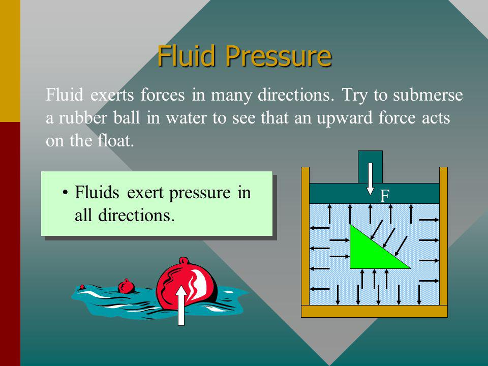 Fluid Pressure Fluid exerts forces in many directions. Try to submerse a rubber ball in water to see that an upward force acts on the float.