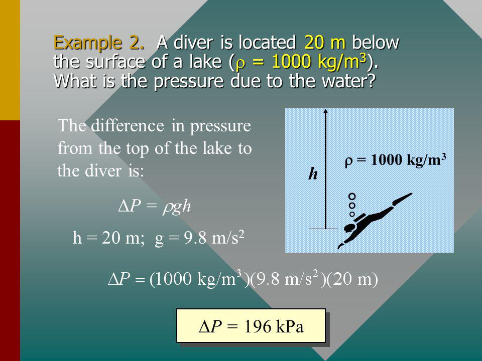 The difference in pressure from the top of the lake to the diver is: