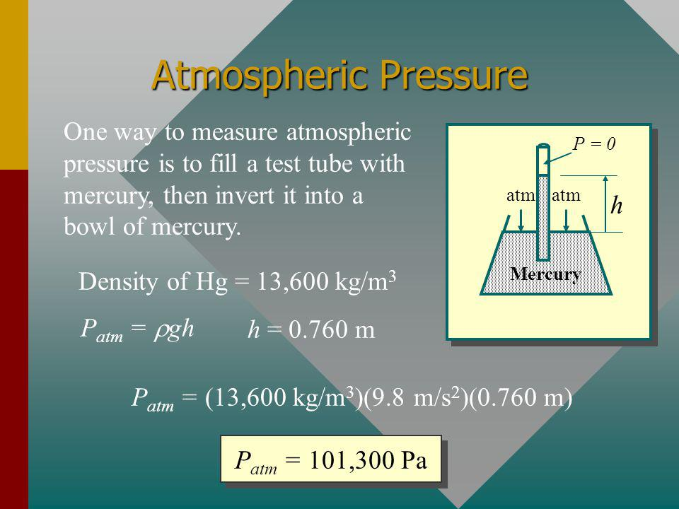 Atmospheric Pressure One way to measure atmospheric pressure is to fill a test tube with mercury, then invert it into a bowl of mercury.